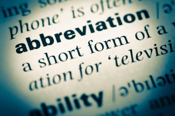 Fragmento de diccionario con la definición de abreviatura